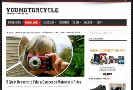 Camera on motorcycle rides