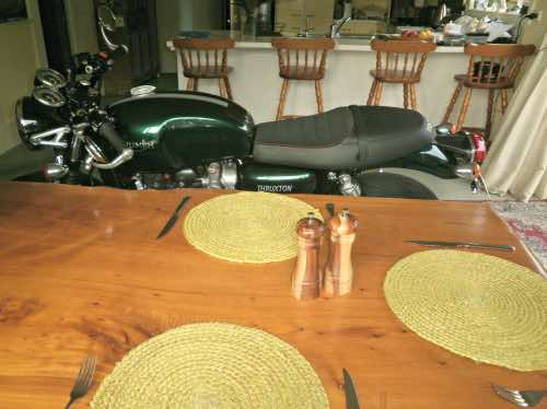 how to ride a motorbike into the dining room