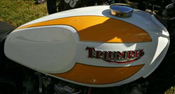 Second of the Triumph motorcycle tanks