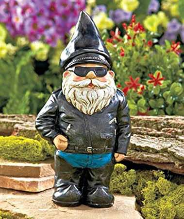 biker gnomes can help in the garden