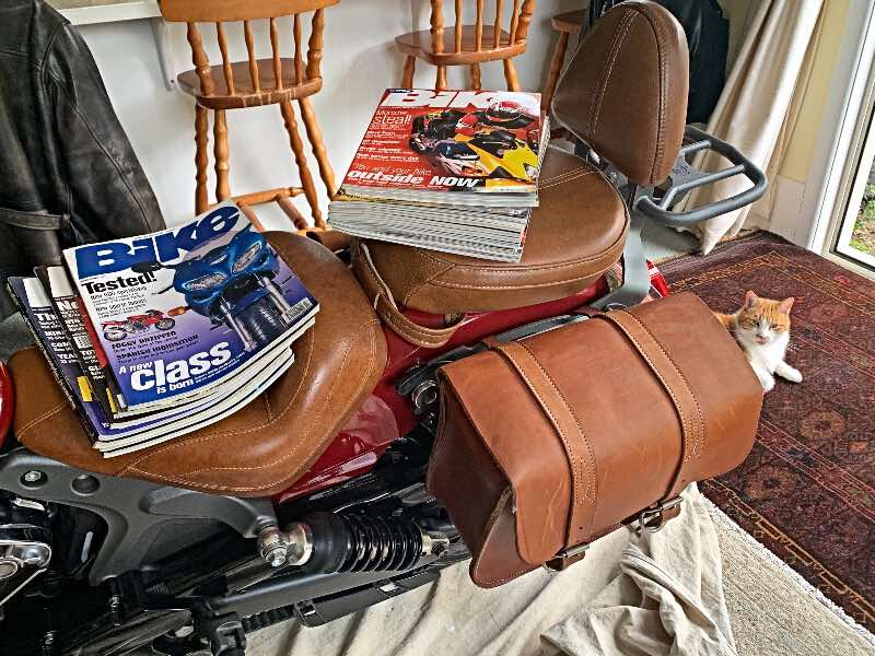 motorcycle as bookshelf