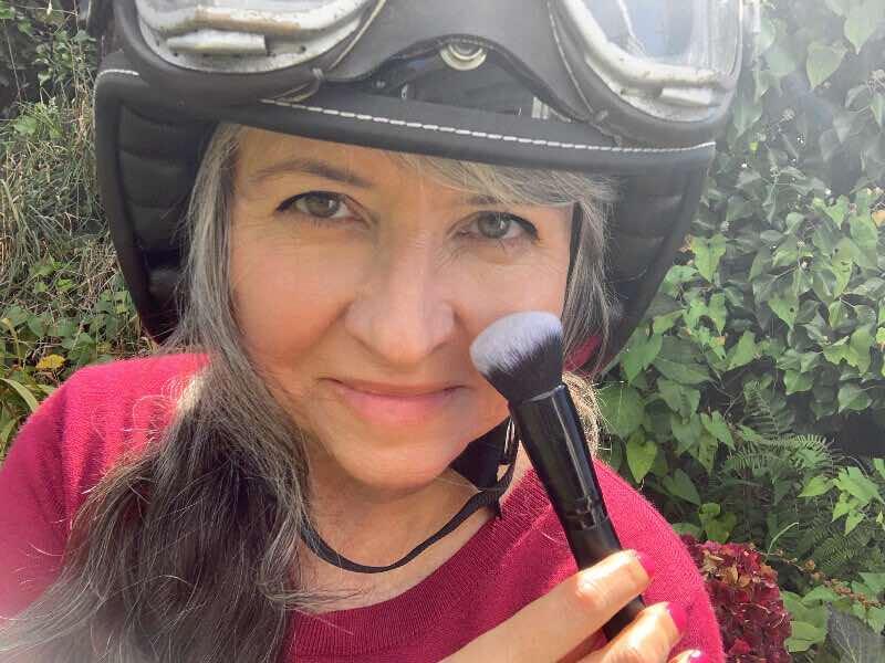powder in a helmet