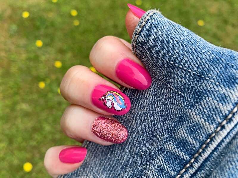 unicorn biker nail design